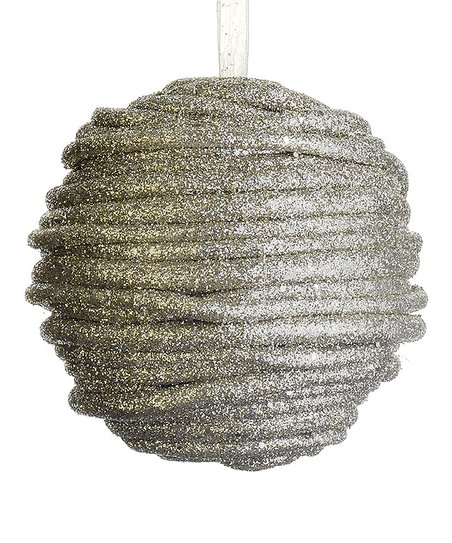 Silver Swirl Glitter Ball Ornament