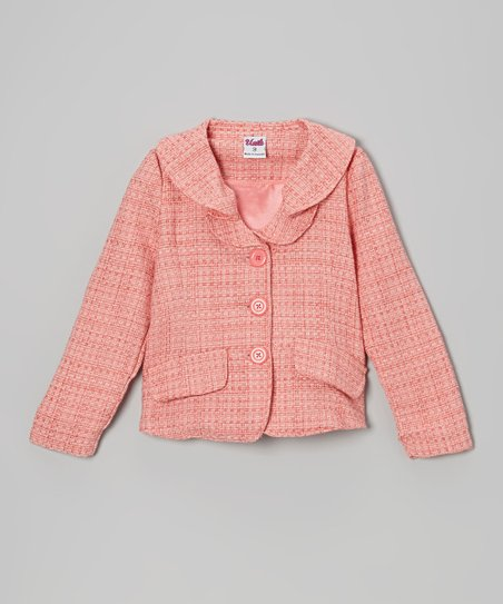 Coral Tweed Blazer - Toddler & Girls
