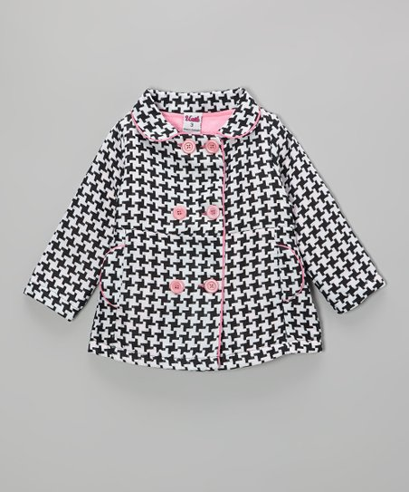 Black & White Houndstooth Peacoat - Infant, Toddler & Girls