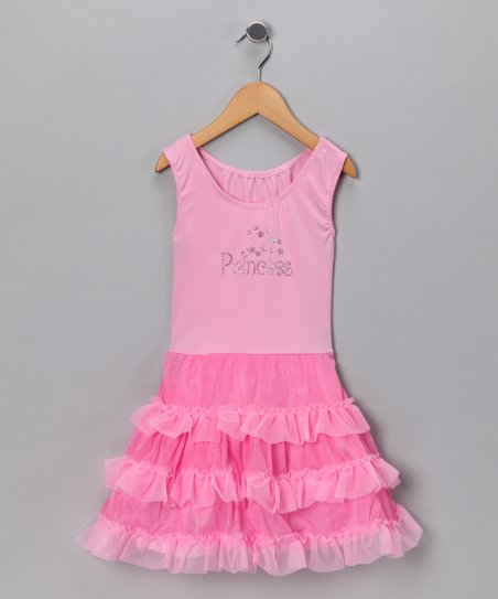 Pink 'Princess' Ruffle Dress - Girls
