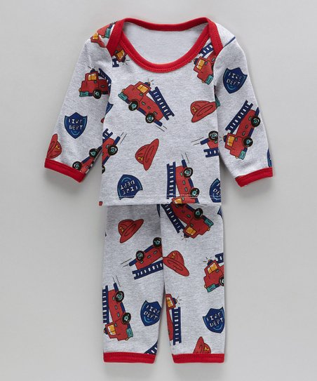 Big Red Fire Trucks Organic Pajamas - Infant