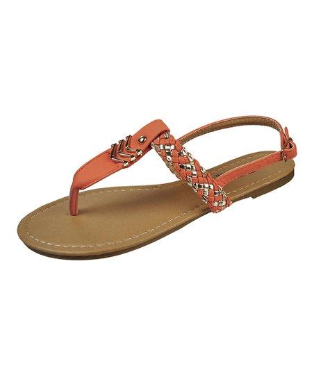 Coral & Silver Chevron Sandal