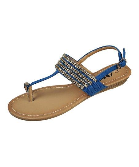 Blue Rhinestone Toe-Strap Sandal