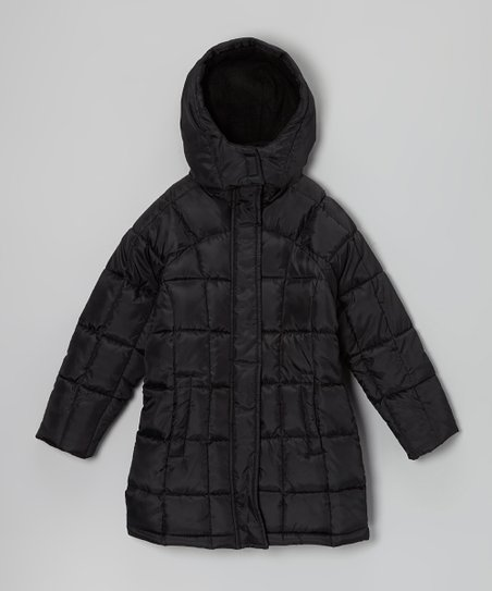 Black Long Hooded Puffer Coat - Girls