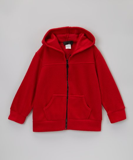Red Polar Fleece Zip-Up Hoodie - Kids