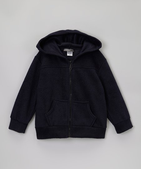 Navy Polar Fleece Zip-Up Hoodie - Kids