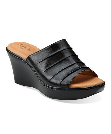 Black Puzzle Peace Wedge Sandal – Women