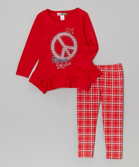 Red 'Peace Rules' Ruffle Tunic & Plaid Leggings - Toddler