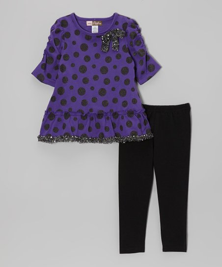 Purple Polka Dot Sequin Trim Tunic & Leggings - Toddler