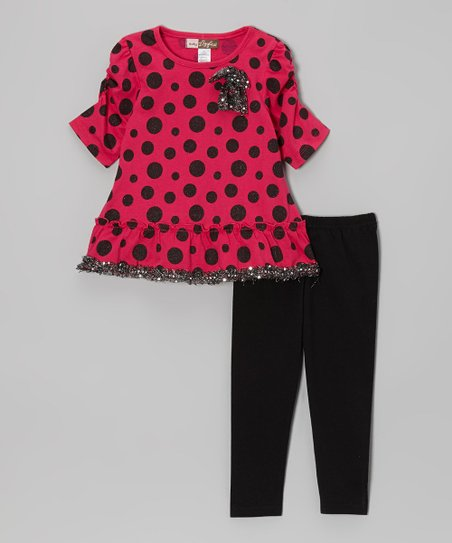 Fuchsia Polka Dot Sequin Trim Tunic & Leggings - Toddler