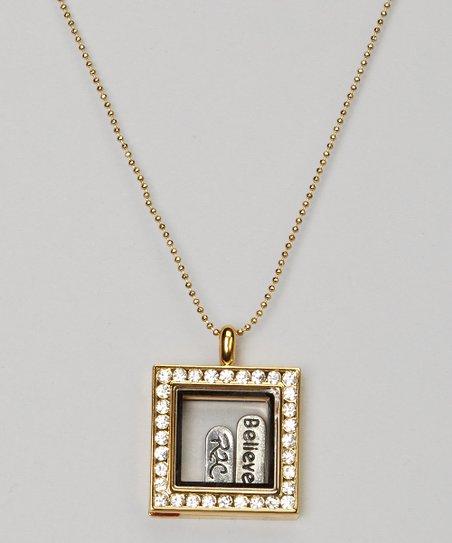 Gold Rhinestone Square Floating Locket Necklace Set