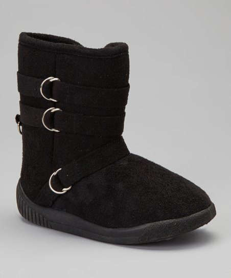 Black Hanging Buckle Boot - Kids