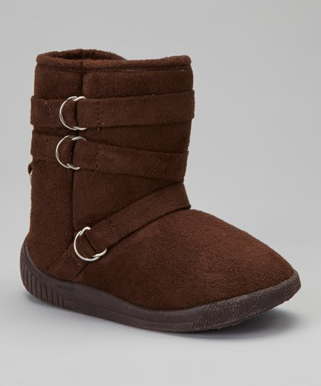Brown Hanging Buckle Boot - Kids