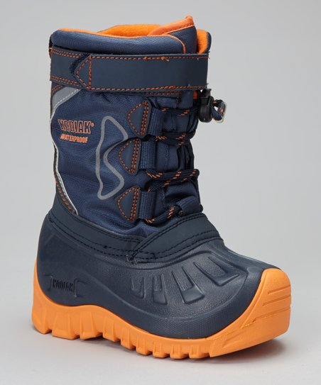 Navy & Orange Gordy Snow Boot - Kids