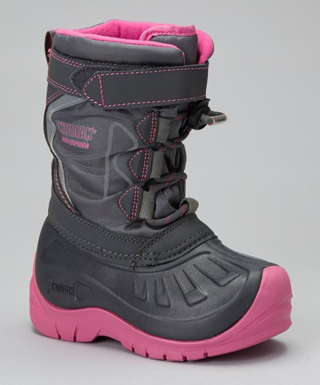 Gray & Pink Gracie Snow Boot - Kids