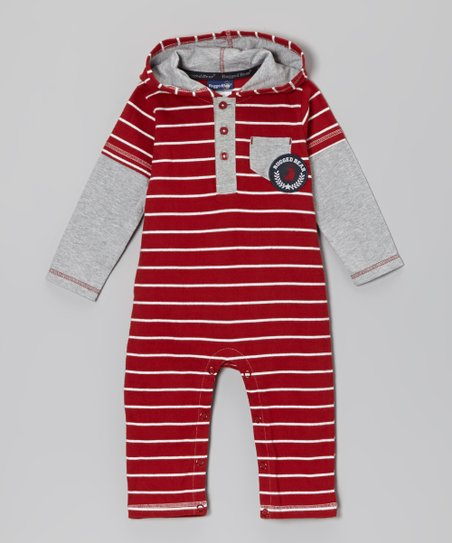 Red & White Stripe Hooded Playsuit - Infant