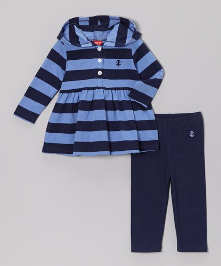Blue Stripe Hooded Tunic & Leggings - Infant