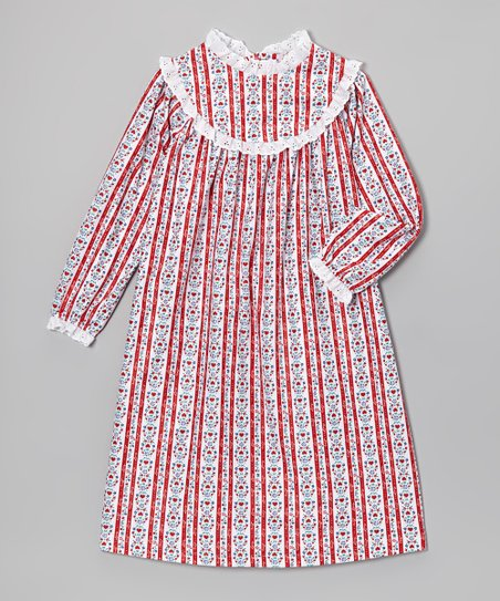 Red Tyrolean Nightgown - Girls
