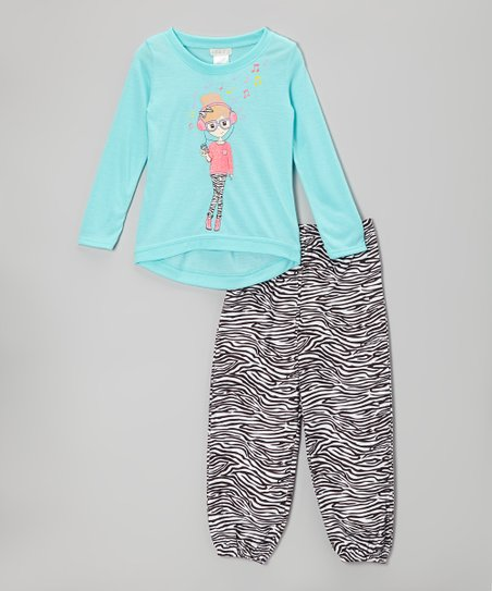 Blue Zebra Pajama Set - Girls