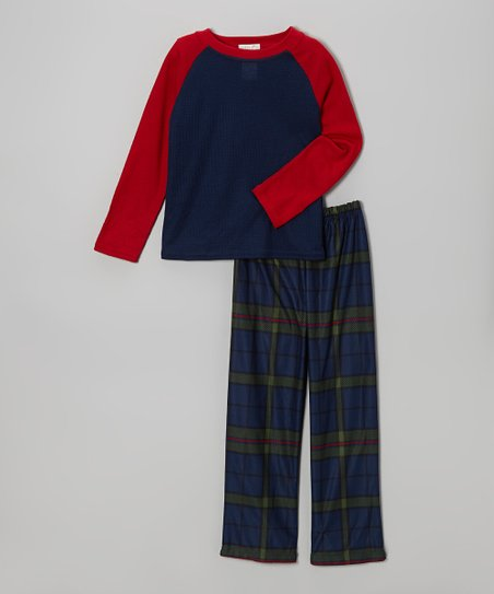 Blue Plaid Pajama Set - Boys