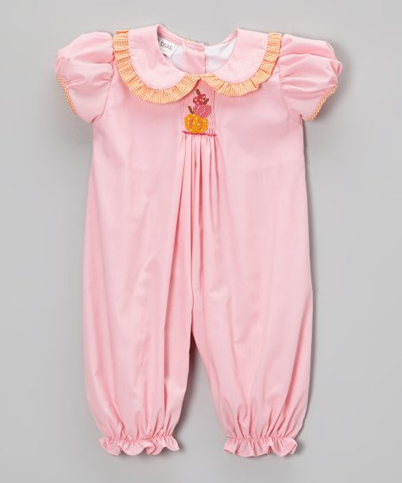 Pink Pumpkin Smocked Bubble Romper - Infant