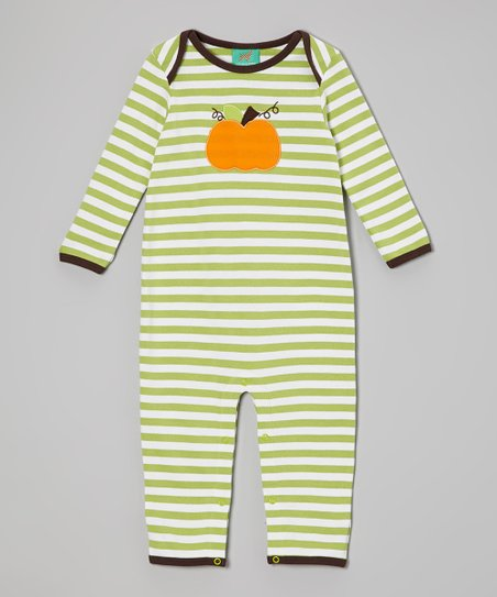 Green & White Stripe Pumpkin Playsuit - Infant & Toddler