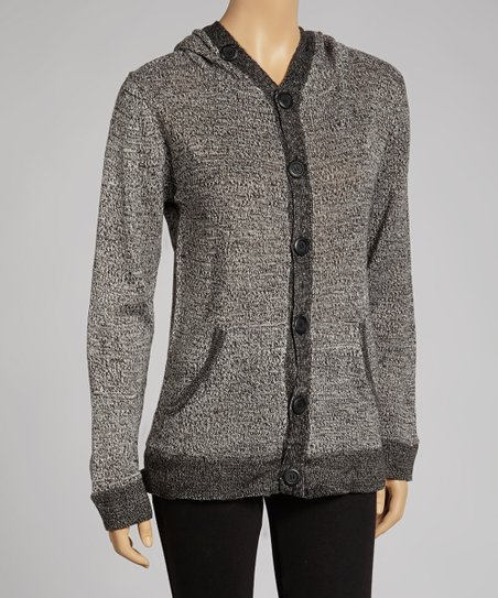 Gray Marled Hooded Cardigan - Women