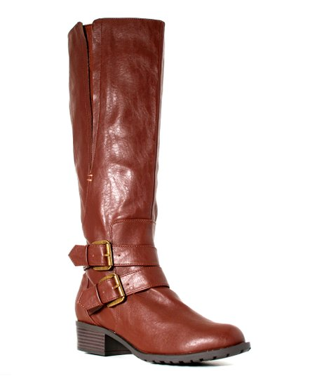 British Tan Extra-Wide-Shaft Boston Boot