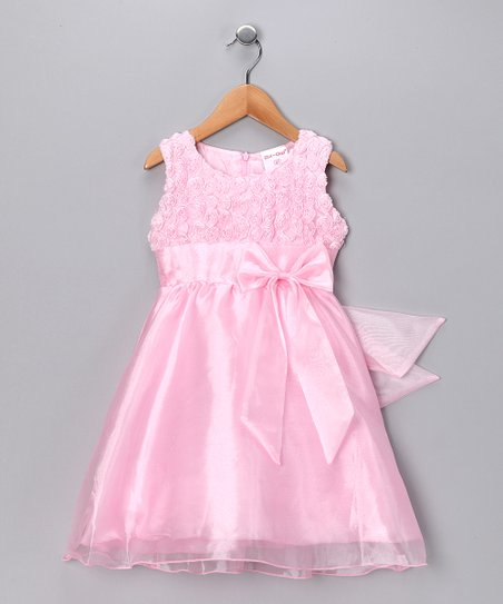 Pink Rosette Chiffon Dress & Bolero - Toddler & Girls