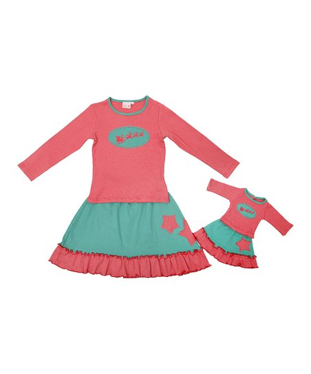 Red & Green Sleigh Star Tee Set & Doll Outfit  – Girls
