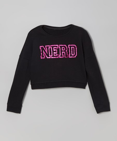 Black & Pink 'Nerd' French Terry Sweatshirt