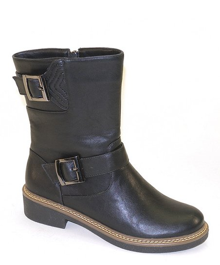 Black Stitch & Buckle Boot