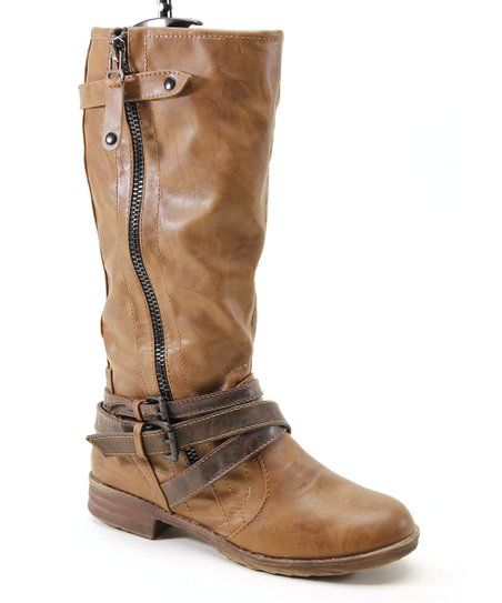 Brown Low Heel Zipper Boot