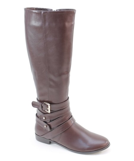 Brown Four Strap Buckle Boot