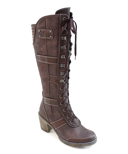 Coffee Lace-Up Combat Boot