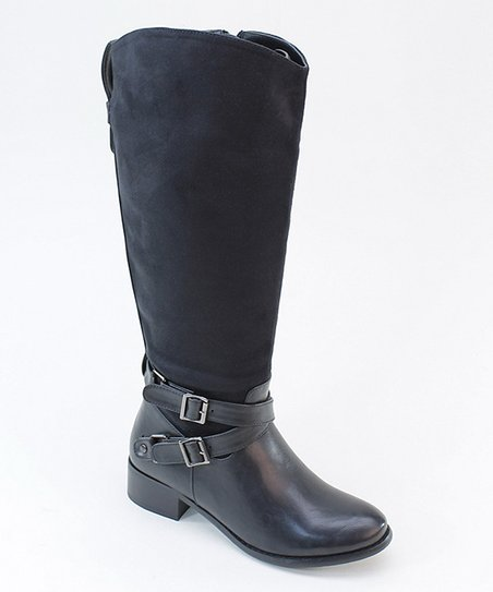 Black Cross Strap Boot