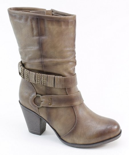 Taupe Wrap Strap Boot