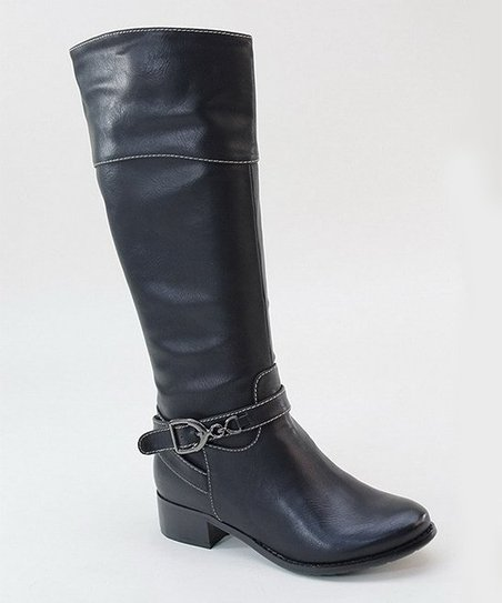 Black Stitch & Buckle Tall Boot