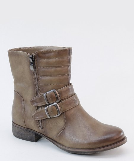 Taupe Distressed Ankle Boot