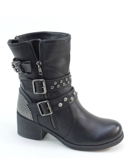 Black Buckle & Zipper Boot