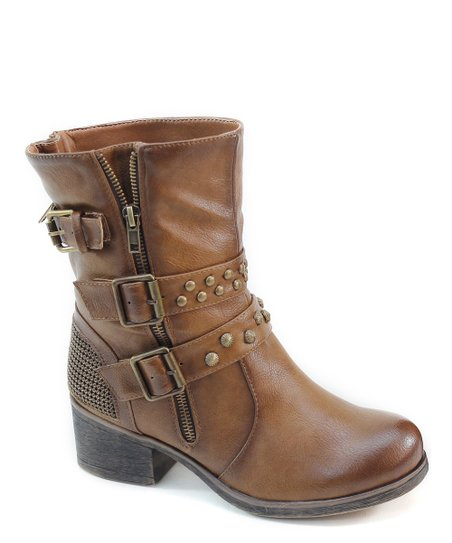 Brown Buckle & Zipper Boot