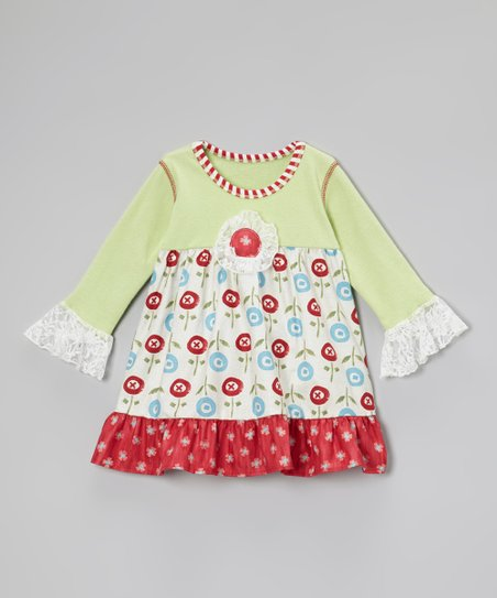 Red & Green Flower Ruffle Swing Top - Toddler & Girls
