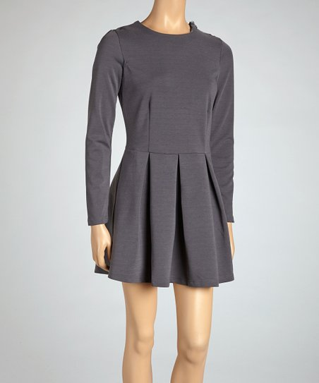 Gray Long-Sleeve Villa Dress