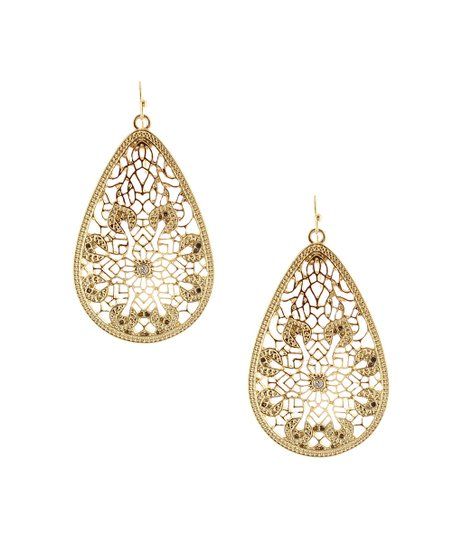 Antique Gold Detailed Teardrop Earrings