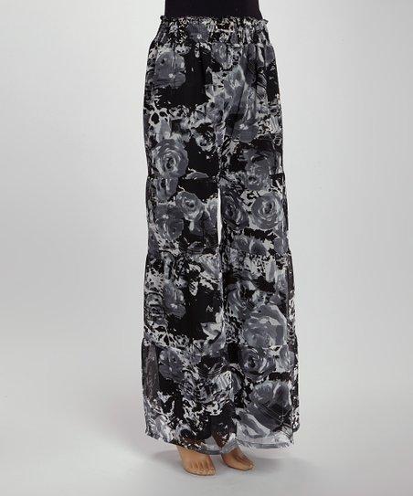 Gray Floral Sketch Divided Skirt