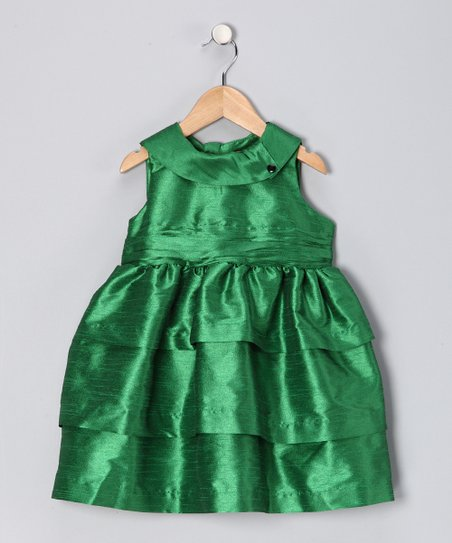 Emerald Silk Dress - Toddler & Girls