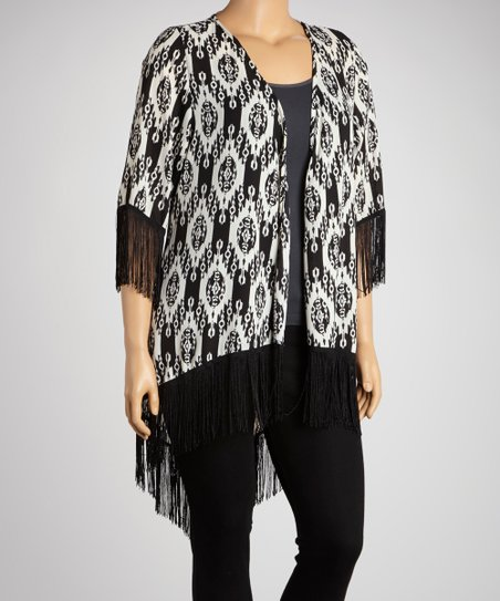 Black & White Tribal Fringe Top - Plus
