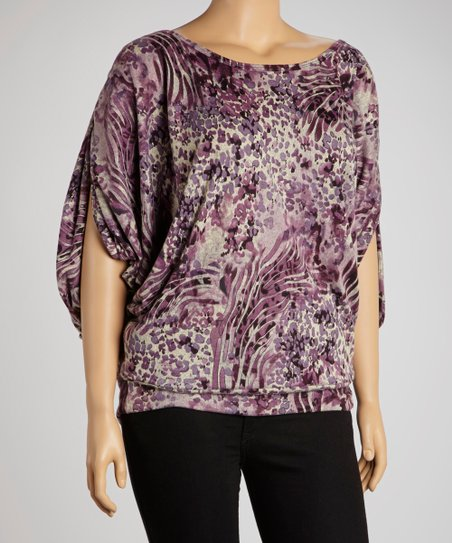 Purple Abstract Dolman Top - Plus
