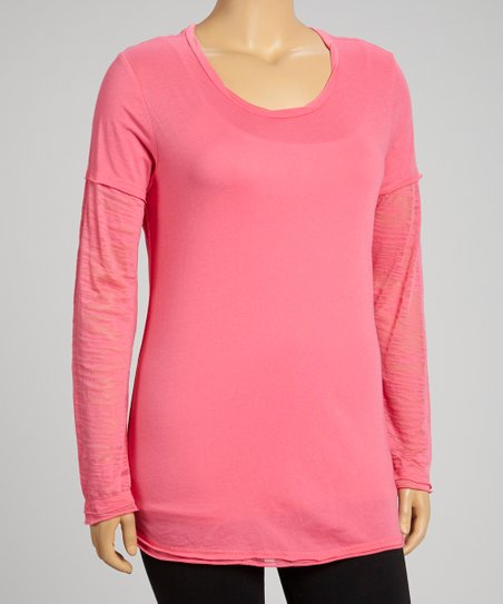 Watermelon Burnout Layered Long-Sleeve Tee - Plus