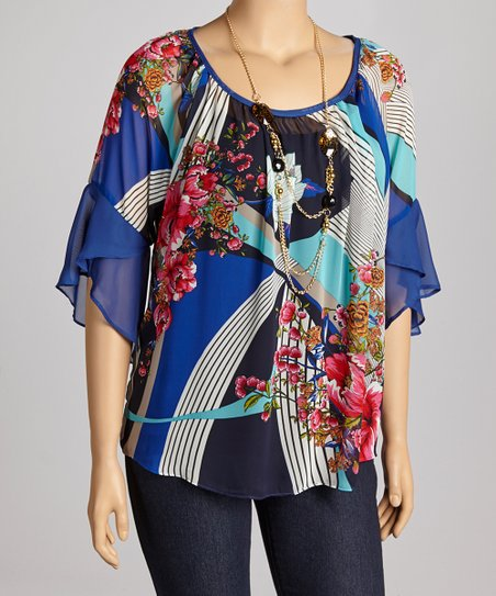 Blue Floral Chiffon-Sleeve Top - Plus